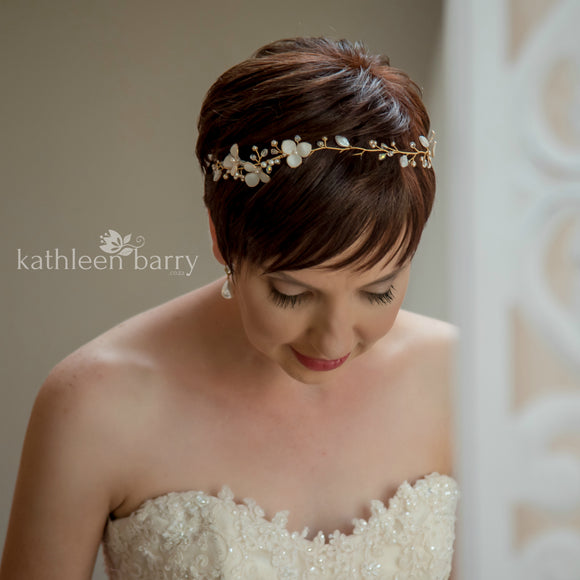 Tracy crystal pearl headband, delicate sculpted fabric flowers and glass leaves - colors available