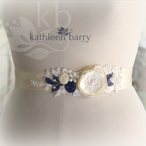Emma Wedding dress sash belt with Ivory, cream and navy blue detail (color options available)