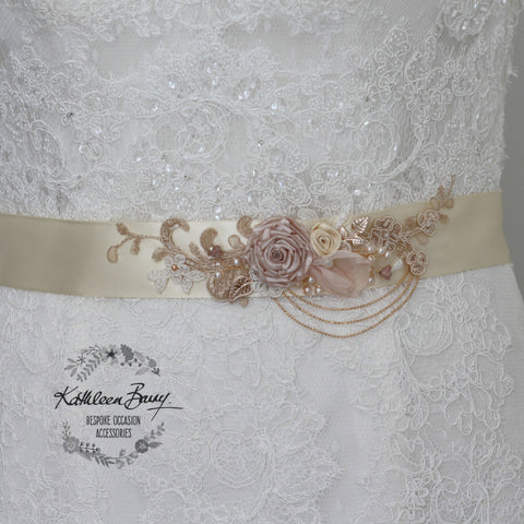 Eva Wedding dress sash belt - floral with lace - Blush pink and rose gold