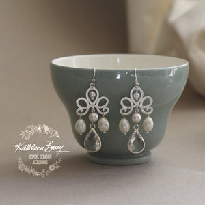 Evita Chandelier crystal pearl drop earrings - Silver only