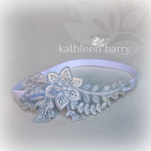 Fern lace garter shades of blue  - color options available