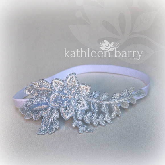 Fern lace garter shades of blue  - hand tinted - color options available