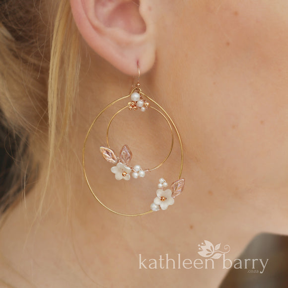 Rochelle floral hoop earrings - color & metallic options available