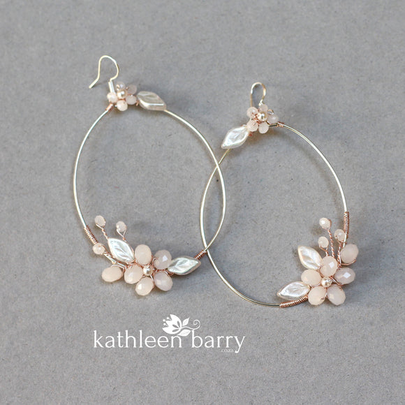 Quinn floral hoop earrings - color & metallic options available