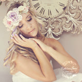 Kathrijn Pastel flower garland crown - Wedding hair accessories colours to order. Ombre pastel shades
