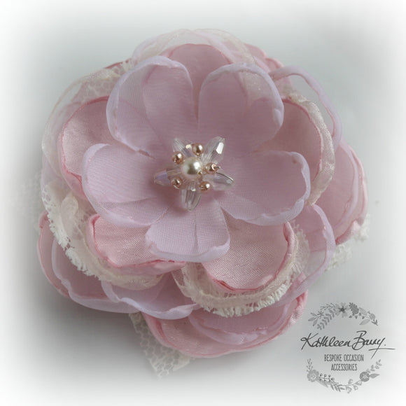 Hair flower, brooch, corsage, belt accessory - Pink with lace - crystal & pearl detailing