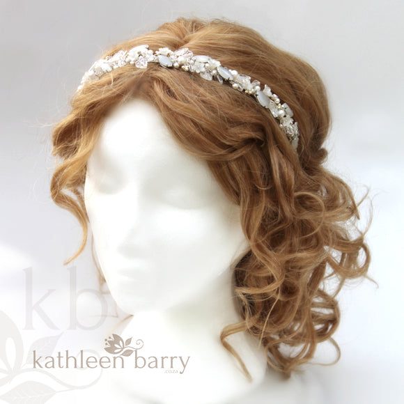 Freya floral jewelled headband - color variations on wirework, leaves & pearls available