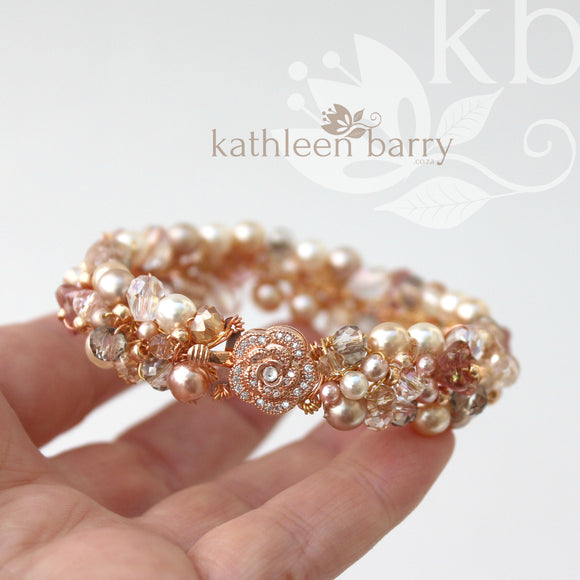 Ginny crystal & pearl, rose gold bracelet - Custom colors - Taupe, smokey silver, champagne, dusty pink
