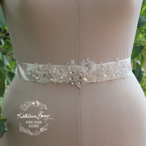 Gabriella Bridal Sash Belt lace motif, diamante, mini sequin, crystal & pearl detailing Wedding Accessories