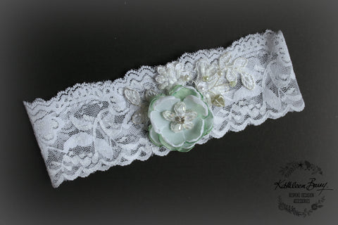 Mint green Garter  - wedding bridal accessories