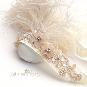 Great Gatsby theme 1920's style feather headband fashion