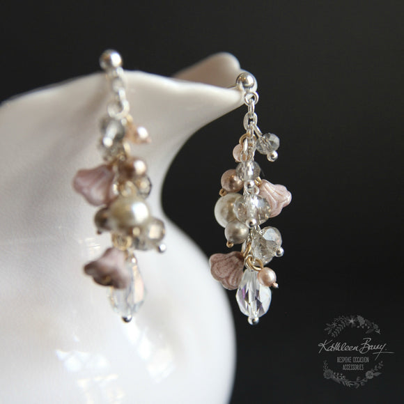 Ginny cluster Earrings - Crystal pearl mixed metal - taupe, smokey silver, champagne crystal dusty pink