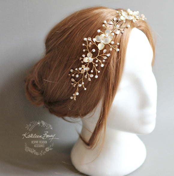Tiffany Gold hair vine iridescent gold white pearl - Available in Gold, Silver and Rose gold