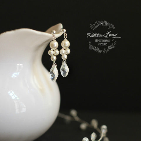 Grace drop earrings silver Crystal & Pearl - Gold or silver option