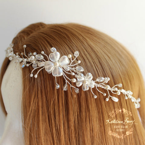 Hailey Bridal headband, wreath, delicate floral crystal and pearl, hair vine, crown