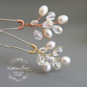 Minette Bridal Pearl hair pin dainty wedding hair accessories - sold individually