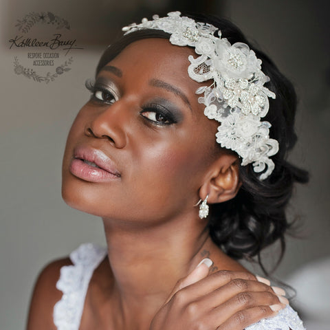 Lace headpiece - Chantilly off white lace, rhinestone, fresh water pearl detail - Lace hair band