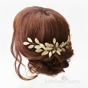 Hanlie - Grecian style leaf hairpiece, Gold, rose gold or silver finish - Assorted color options