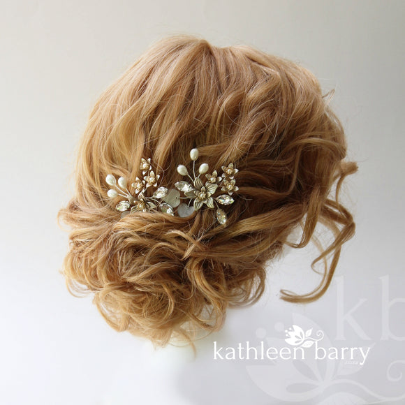 pewter finish bridal hair pin online colors to order