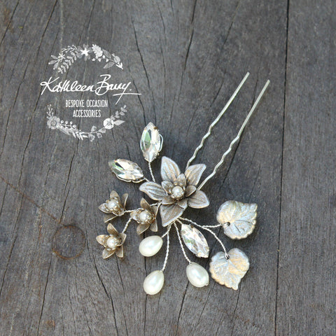 Hazel pewter finish hair pin floral rhinetone pearl gild collection - available in various finishes