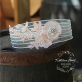 Kelly Garter flower detail and bridal lace Rose gold and blush pink - color options available