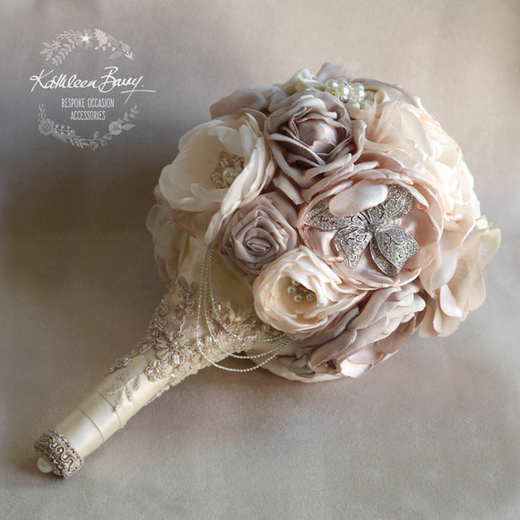Heirloom Bridal Bouquet - Nude, blush pink, stone, cream, ivory