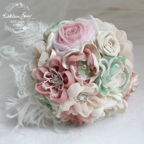 Heirloom Bridal Bouquet - dusty pinks and mint green