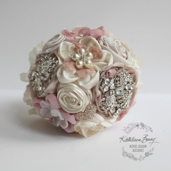 Heirloom Bridal Bouquet - Peach blush dusty pink