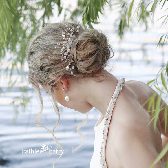 Ilze Crystal, Rhinestone wedding hair comb - silver, rose gold or gold