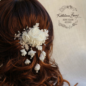 Ingrid Lace hairpiece with dangling floral details, in White or Ivory - Bridal hair clip