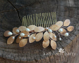 Irma metallic leaf and pearl hair comb - rose gold, gold or silver