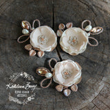 Jeanine brooch or hair pin - Rose Gold, nude, taupe & tan (Colors on request)
