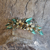 Jacqueline foliage and floral hair comb - Color options available