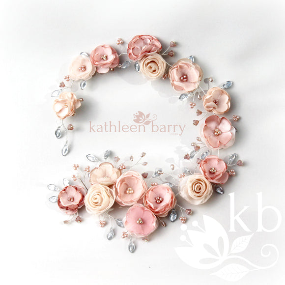 Jane Bridal Hair Piece / vine shades of blush pinks - Ivory Champagne custom colors available