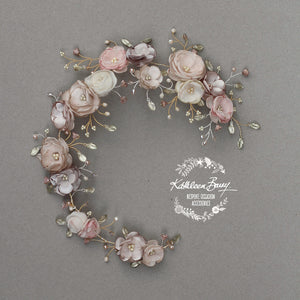 Jane Bridal Hair Piece in Champagne & Muted tones - custom colors available