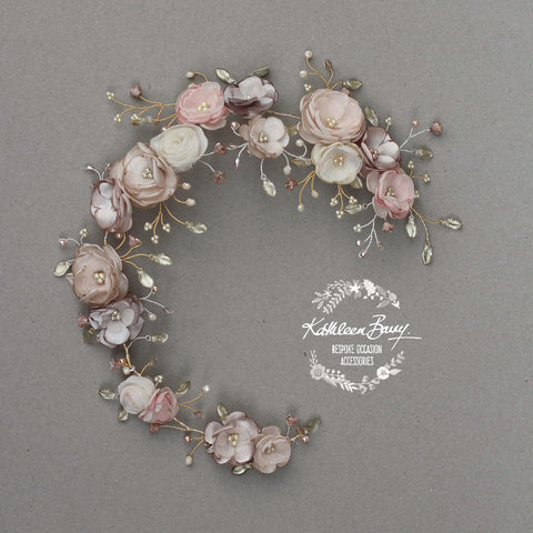Jane Bridal Hair Piece in Champagne & Muted tones