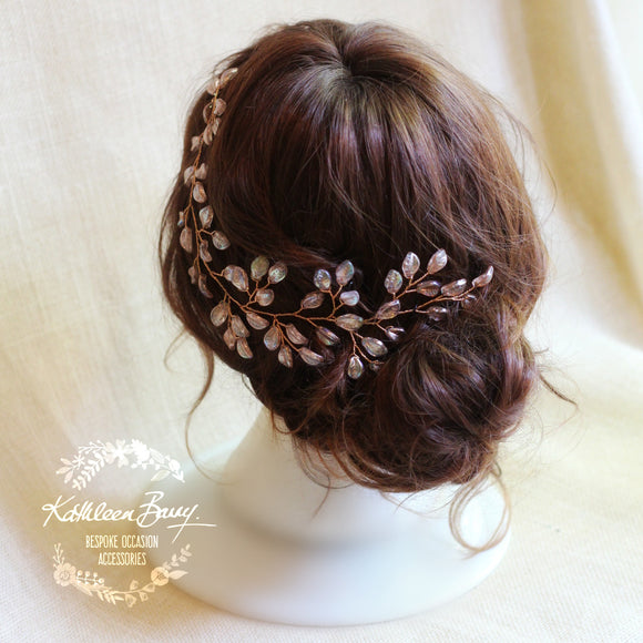 Jenneth Bridal Leaf Hair Vine Rose Gold Wedding Hair Accessories