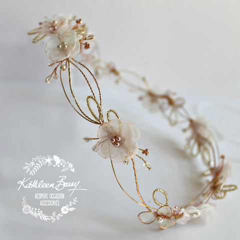 Jamie Rose Gold Blush Pink headband - wreath floral crown circlet - bridal hair accessories - wedding
