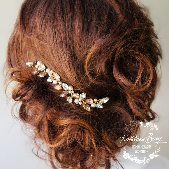 Jessica Rose Gold Rhinestone & Pearl Bridal Hair Pin