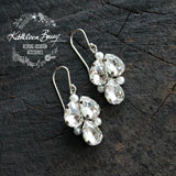 Jessica Rhinestone Pearl Earrings - Rose gold, gold or silver - Rhinestone colors available