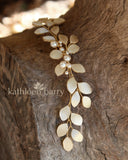 Caralize leaf hairpiece - satin sculpted fabric leaves & pearls - many color options available