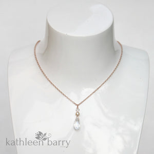 e17824ffe Kate chain necklace with crystal drop pendent - 14K gold, Rose gold filled  or sterling