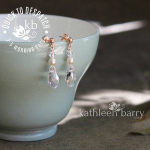 Kate Earrings - Crystal drops with pearls - Rose gold, gold or silver (7 pearl colors available)