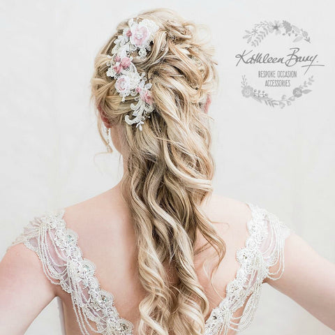 Kathryn hairpiece Lace - Bridal wedding hair accessories - Chantilly lace off white and pink - color options available