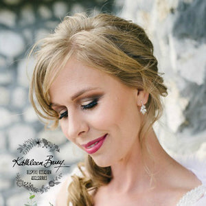 Kathy cluster earrings - Dainty clusters of crystal and pearls silver, gold or rose gold
