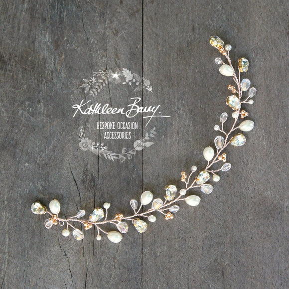 Kaylin Crystal pearl pin in hair vine, rose gold, gold or silver