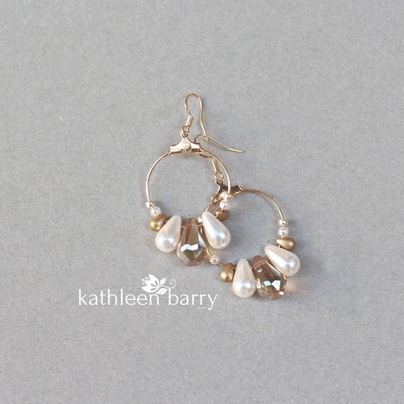 Kerryn gold hoop earrings -  white, cream or blush pink pearls