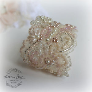 Bridal cuff bracelet lace crystal pearl  - ivory & shades of pink / blush pink