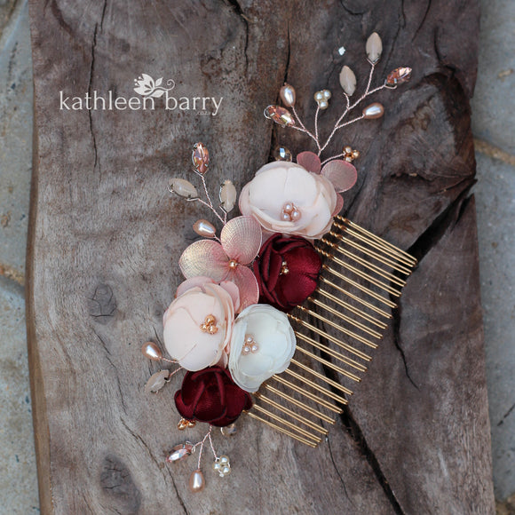 Laetitia floral hair comb rose gold burgundy & blush pink - Custom colors to order
