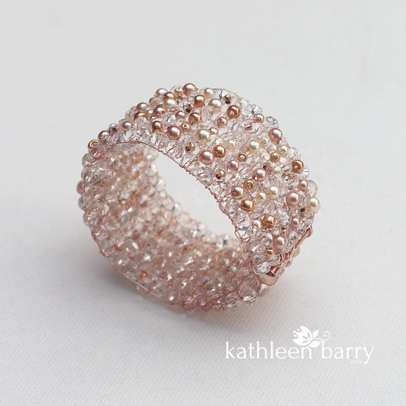 Lara crystal pearl cuff bracelet - Available in Gold, Silver or Rose Gold